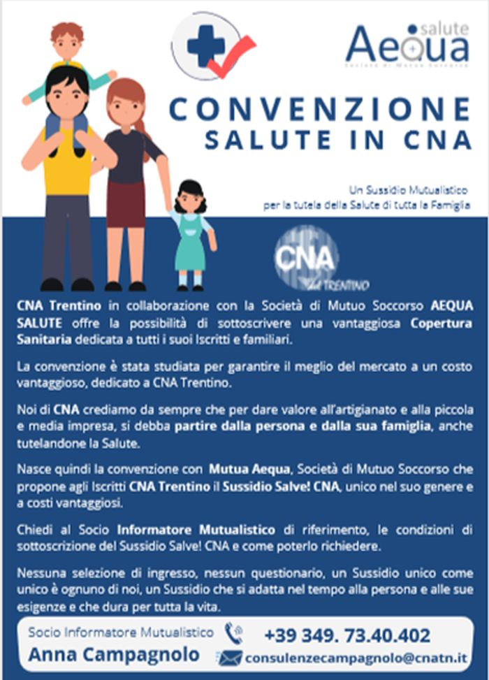 Prevenzione Salute Assistenza Protezione E Mutualita Convenzione Tra Cna Trentino E Societa Di Mutuo Soccorso Aequa Salute Scopri Come Aderire