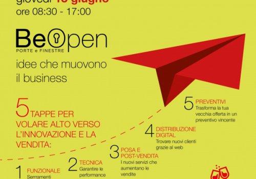 BeOpen, l'evento italiano per il settore del serramento, il 14 giugno a Levico Terme in collaborazione con CNA. Prenota il tuo spazio promozionale a prezzi scontati