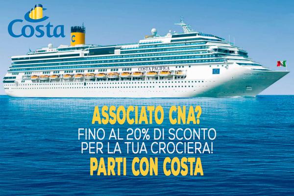 Fino al 20% di sconto sulla tua crociera, grazie alla nuova partnership tra CNA e Costa valida per tutti gli associati